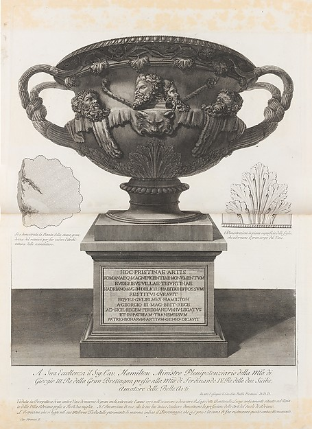 "Large vase found at the Pantanello, Hadrian's Villa, Tivoli, in 1770 (The ""Warwick Vase,"" from Vasi, candelabri, cippi, sarcofagi, tripodi, lucerne, ed ornamenti antichi disegnati ed incisi dal Cav. Gio. Batt. Piranesi, Vol. I (Vases, candelabra, grave stones, sarcophagi, tripods, lamps, and ornaments designed and etched by Cavalieri Giovanni Battista Piranesi)"