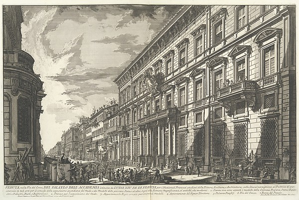 View along the Via del Corso of the Palazzo dell'Accademia, established by Louis XIV, King of France for French students of Painting, Sculpture and Architecture..., from Vedute di Roma (Views of Rome), part I
