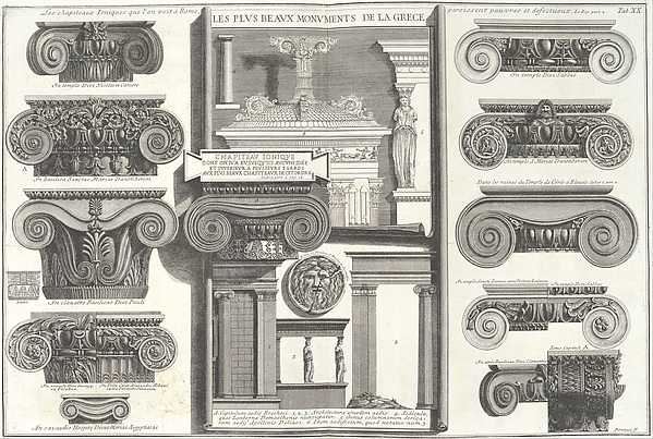 Various Roman Ionic capitals compared with Greek examples from Le Roy [S. Maria in Trastevere, S. Paoplo fuori le Mura, S. Clemente, etc.], from Della Magnificenza e d'Architettura de'Romani (On the Grandeur and the Architecture of the Romans by Gio. Battista Piranesi, Fellow of the Royal Society of Antiquaries of London), tab. 20