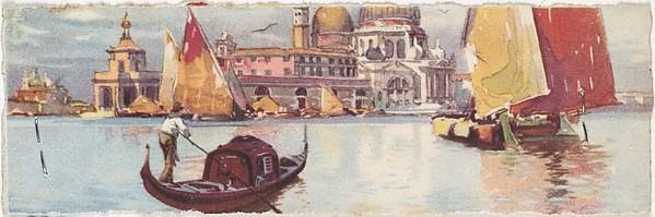 Venice, Customs House (Dogana) and Santa Maria della Salute with Gondola and Sailboats