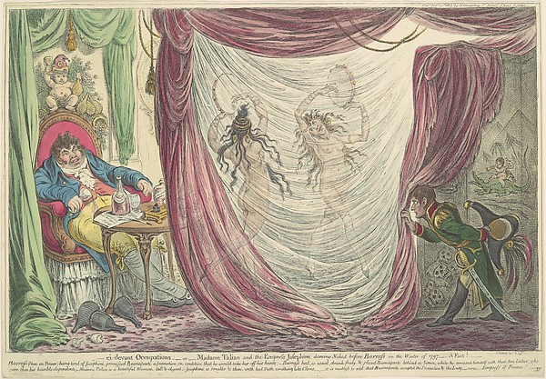 Fascinating Historical Picture of James Gillray with Ci-devant Occupations; or Madame Talian and the Empress Josephine Dancing Naked before Barrass in t on 2/20/1805