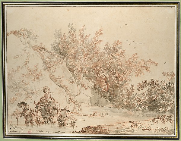Landscape with Peasants Fording a Stream