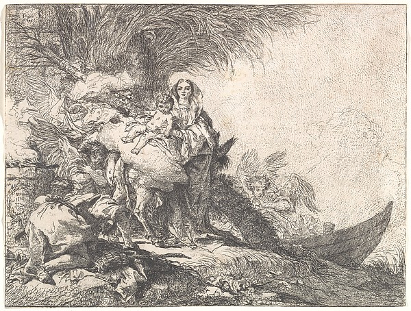Fascinating Historical Picture of Giovanni Domenico Tiepolo with Joseph Adoring the Christ Child near a Smoking Altar from the Flight into Egypt in 1752