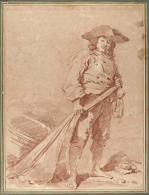 A Fisherman Pulling a Net
