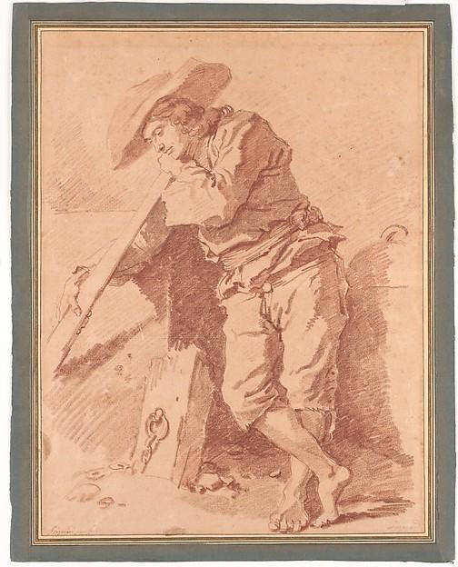 A Fisherman Leaning on an Oar