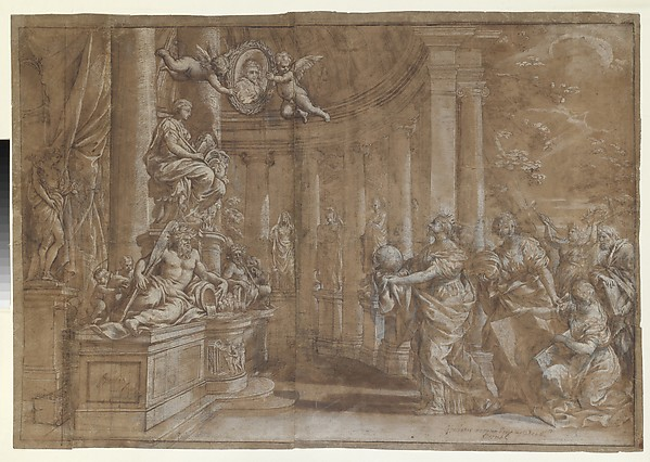 Fascinating Historical Picture of Pietro da Cortona with Allegory in Honor of Cardinal Antonio Barberini the Younger (1607-1671) (Design for an Engraving) in 1596
