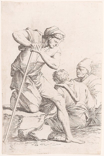 Fascinating Historical Picture of Salvator Rosa with Two men sitting and another man holding a staff kneeling on a rock from the series Figurine in 1656