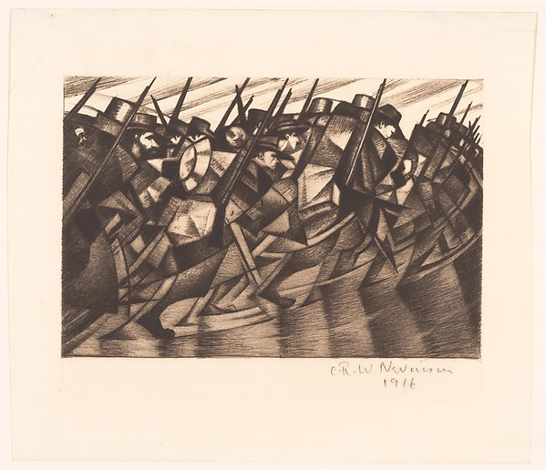 This is What Christopher Richard Wynne Nevinson and Troops Marching to the Front Looked Like  in 1916