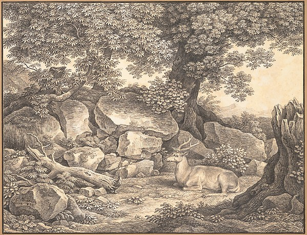 Italian Landscape with Trees, Rocks and a Resting Deer