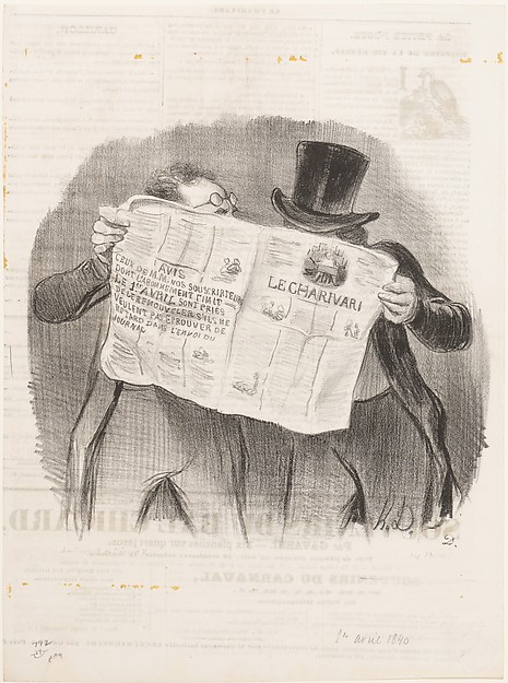 Fascinating Historical Picture of Honor Daumier with Advice to Subscribers published in Le Charivari April 1 1840 on 4/1/1840