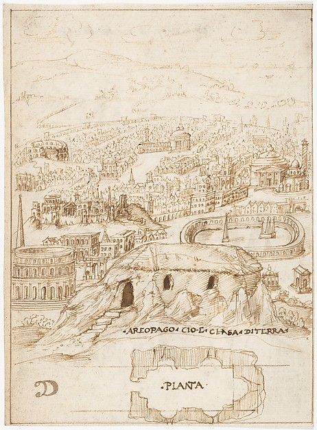Recto: The Houses of the Barbarians (Vitruvius, Book 2, Chapter 1, nos. 3, 4); Verso: The Aeropagus in Athens with Cave Houses (Vitruvius, Book 2, Chapter 1, no. 5).