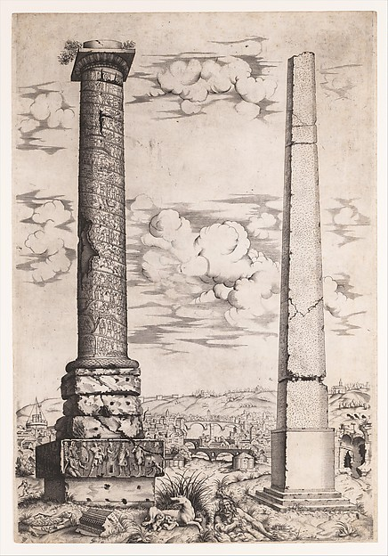 Fascinating Historical Picture of Enea Vico with Column of Antoninus and a Roman Obelisk in 1543