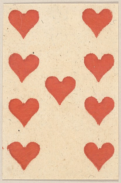 Nine of Hearts, from a Set of Piquet Cards