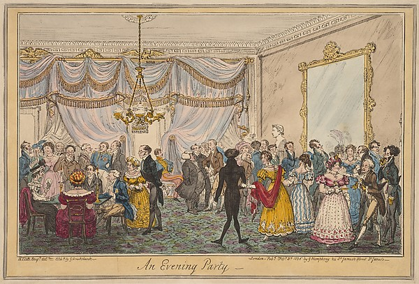 Fascinating Historical Picture of George Cruikshank with An Evening Party on 2/3/1826
