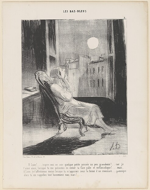This is What Honor Daumier and O Lune!...Inspire-moi ce soir quelque petite pense... from Les Bas-Bleus published in Le Chari Looked Like  on 2/28/1844
