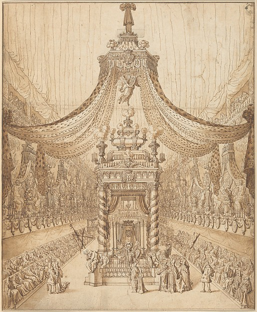 Fascinating Historical Picture of Jean Berain with Funeral of the Grand Cond in 1687