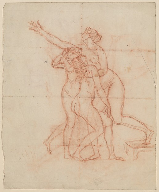 Study for the Wife and Daughters of Brutus (recto); Study of a Male Nude (verso)