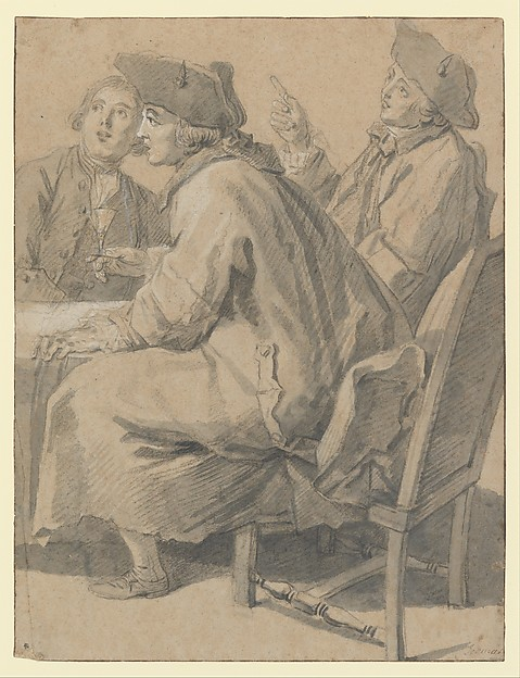 Fascinating Historical Picture of tienne Jeaurat with Three Men at a Table in 1763