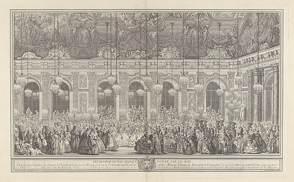 Decoration for a Masked Ball at Versailles, on the Occasion of the Marriage of Louis, Dauphin of France, and Maria Theresa, Infanta of Spain (Bal masqué donné par le roi, dans la grande galerie de Versailles, pour le mariage de Dauphin, 1745)