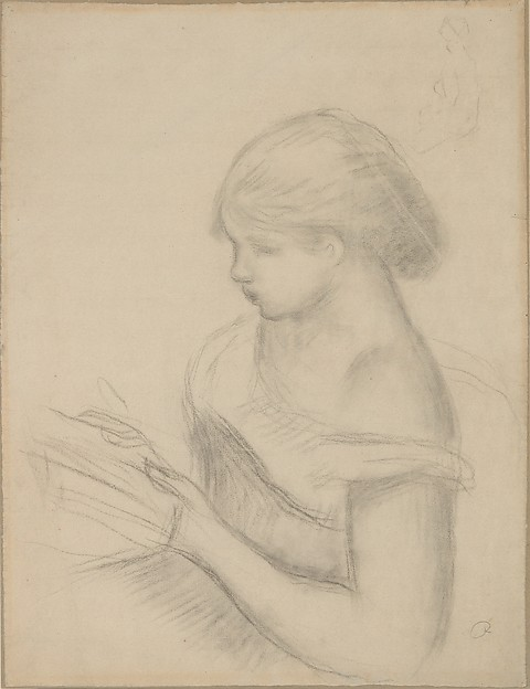 A Girl Reading (with a Sketch of Seated Woman)