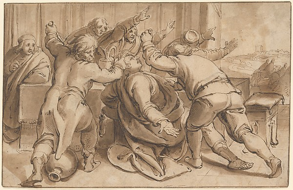 The Servants of Absalom killing Amnon (2 Samuel 13, 28-29); verso: Sketch of a seated woman