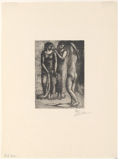 Two Women Looking at a Nude Model