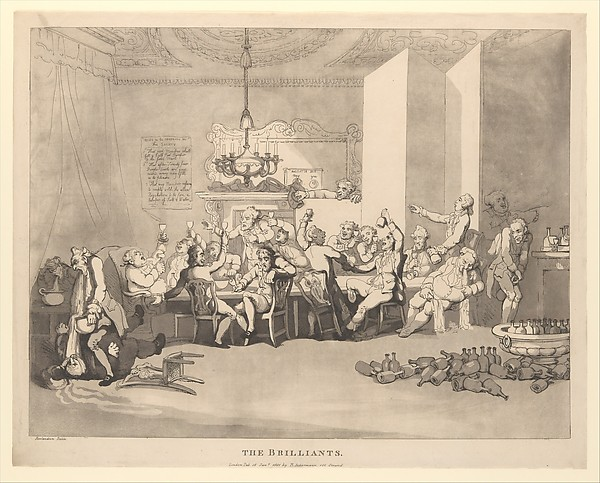 Fascinating Historical Picture of Thomas Rowlandson with The Brilliants on 1/15/1801