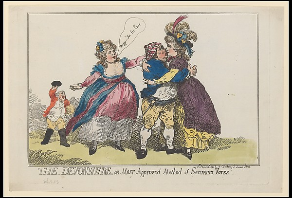 Fascinating Historical Picture of Thomas Rowlandson with The Devonshire or Most Approved Method of Securing Votes on 4/12/1784