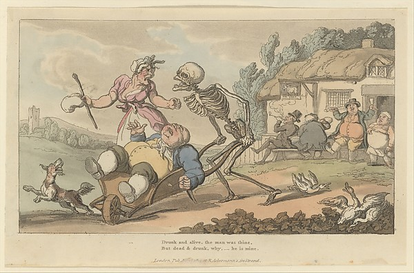Fascinating Historical Picture of Thomas Rowlandson with The Sot (The English Dance of Death plate 12) on 7/15/1814