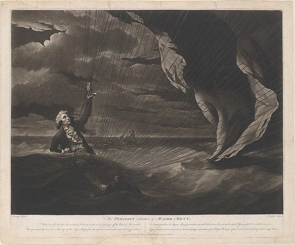 Fascinating Historical Picture of John Murphy with The Perilous Situation of Major Mony When He Fell into the Sea with His Balloon on the 23rd of July on 6/24/1789