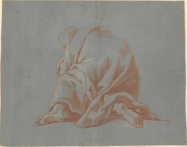 Fascinating Historical Picture of Jean Franois de Troy with Study of a Draped Figure in 1736