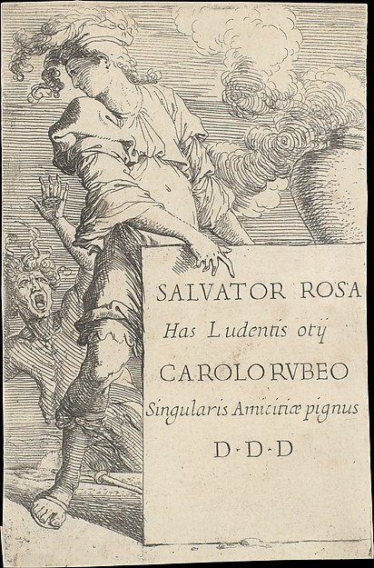 Fascinating Historical Picture of Salvator Rosa with Frontispiece for the series of Figurine in 1656