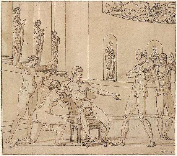 The Clemency of Augustus (Corneille, Cinna, V, 3) (recto); Knight Restraining a Female Figure (verso)