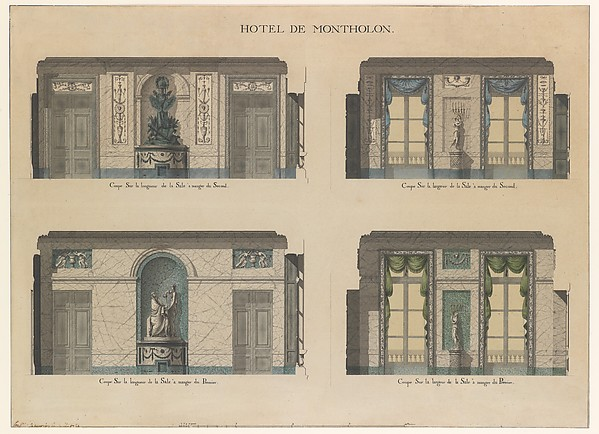 Fascinating Historical Picture of Jean Jacques Lequeu with Longitudinal and Cross Sections of the Dining Rooms of the Htel de Montholon in 1785