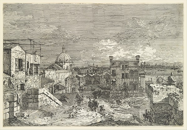 Fascinating Historical Picture of Canaletto with Imaginary View of Venice (undivided plate) in 1741