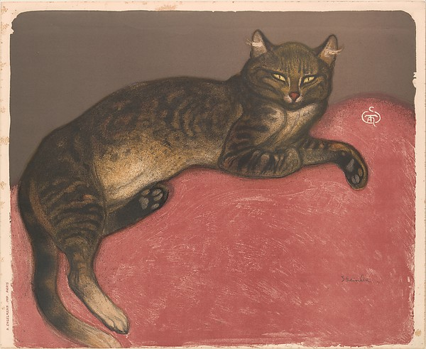 'Winter: Cat on a Cushion' painted by Théophile-Alexandre Steinlen in 1909