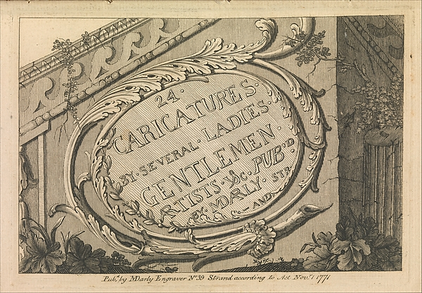 Fascinating Historical Picture of  with Title Page| 24 Caricatures by Several Ladies Gentleman Artists c. on 11/1/1771