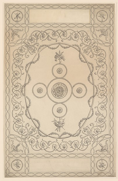 Fascinating Historical Picture of Sir William Chambers with Design for a Ceiling an Oblong with an Oval Center in 1743
