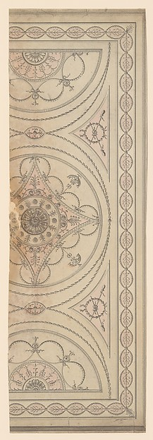 Fascinating Historical Picture of Sir William Chambers with Half Plan of a Ceiling with an Oval Center and Semicircular Ends in 1743