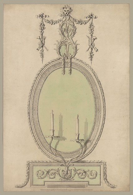 Fascinating Historical Picture of Sir William Chambers with Two Designs for an Overmantel Glass (Verso| Partial Floor plan) in 1743
