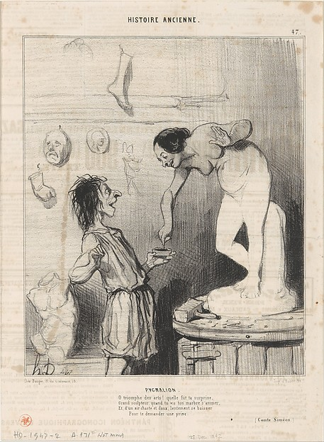 Fascinating Historical Picture of Honor Daumier with Pygmalion from Histoire Ancienne published in Le Charivari December 28 1842 on 12/28/1842