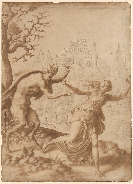 A Satyr Pursuing a Nymph