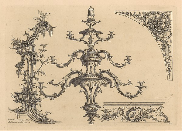 Fascinating Historical Picture of  with 12 plates from A New Book of Ornaments with Twelve Leaves Consisting of Chimneys Sconces Tables on 11/13/1752
