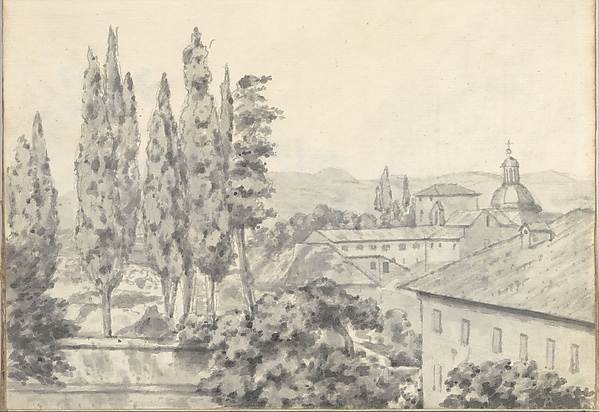 Landscape with Villas and a Church (Smaller Italian Sketchbook, leaf 6 recto)