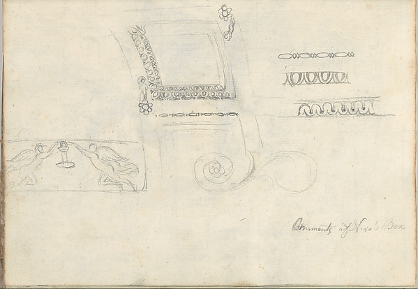 Carved Panel and Ornament (Smaller Italian Sketchbook, leaf 9 recto)