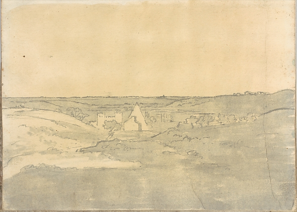 Landscape with Distant Buildings (Smaller Italian Sketchbook, leaf 25 recto)
