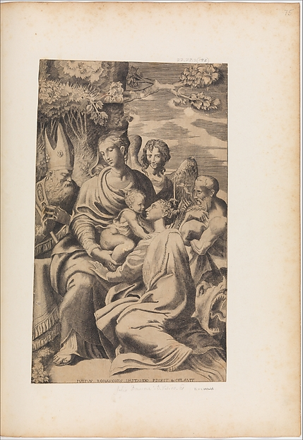 Fascinating Historical Picture of Giulio Bonasone with The Madonna and Child Attended by Saints in 1543