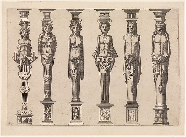 Six terms, four female and two male, with Hercules at far right, plate 1, from Caryatidum [...] sive Athlantidum multiformium ad quemlibet Architecture ordinem Accommodatarum centuria prima [...]