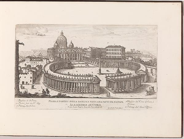 Piazza e Portici della Basilica Vaticana from: Il Nuovo Teatro delle Fabbriche, et Edificii, in Prospettiva di Rome Moderna (...)