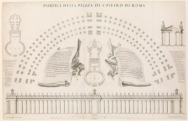 Fascinating Historical Picture of Giovanni Battista Bonacina with Portici della piazza di S. Pietro di Roma. Plate 44 from the Album Basilica di S. Pietro in Vatican in 1656